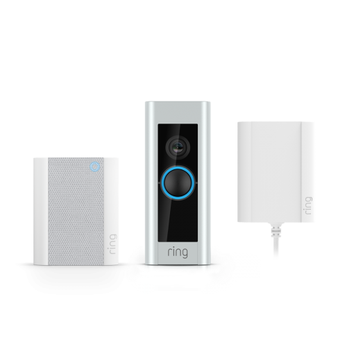 Ring Video Doorbell Pro & Plug-in Adaptor & Chime V2 Bundle