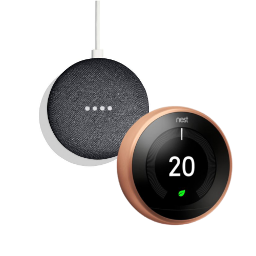 Google Nest T3031EX Learning Thermostat 3rd Generation & Google Home Mini 2nd Gen - Charcoal