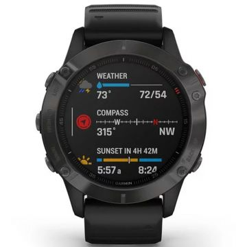 Garmin Fenix 6 Sapphire Multisport GPS Smart Watch - Carbon Grey/Black