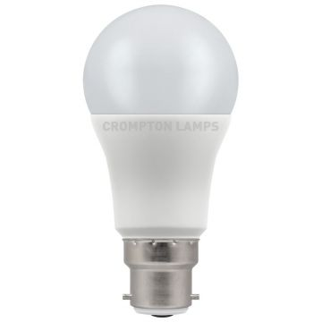Crompton LED Classic GLS Thermal Plastic Bulb, B22d, 11W, Non-Dimmable, Daylight, Opal Finish