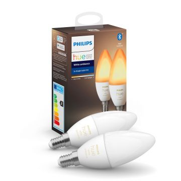 Philips Hue LED Smart Candle Light Bulb, Dimmable, 5.2W, E14, Warm/Cool White - PACK OF TWO