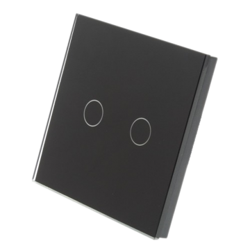 Homeflow Wi-Fi Double (2 Gang) Tempered Glass Smart Switch, Black