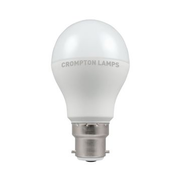 Crompton LED Classic GLS Thermal Plastic Bulb, B22d 9.5W Non-Dimmable, Warm White, Opal Finish