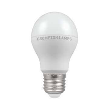 Crompton LED Classic GLS Thermal Plastic Bulb, E27 9.5W Non-Dimmable, Warm White, Opal