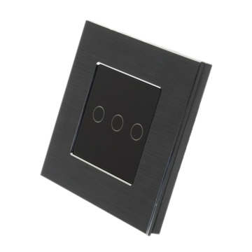 Homeflow Wi-Fi Triple (3 Gang) Brushed Aluminium Smart Switch, Black