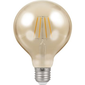 Crompton Antique Decorative LED 95mm Globe Filament Bulb, E27, 5W, Dimmable, Amber Tinted Glass