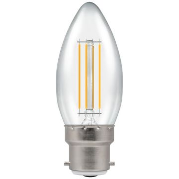 Crompton LED Candle Filament Bulb, B22d, 4W, Non-Dimmable, Warm White, Clear Glass
