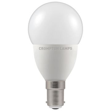 Crompton LED Thermal Plastic Golf Ball Bulb, B15d 5.5W Non-Dimmable, Warm White, Opal