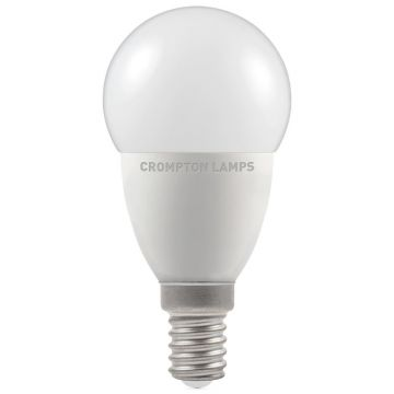 Crompton LED Thermal Plastic Golf Ball Bulb, E14, 5.5W Non-Dimmable, Warm White, Opal