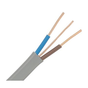 Jaylow PVC Insulated & Sheathed, Flat Two Core Cable, 1mm² - 100M