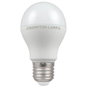Crompton LED Classic GLS Thermal Plastic Bulb, E27, 6W, Non-Dimmable, Warm White, Opal Finish