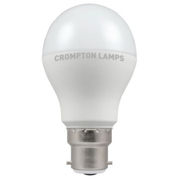 Crompton LED Classic GLS Thermal Plastic Bulb, B22d, 12W, Non-Dimmable, Warm White, Opal Finish