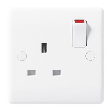 BG Nexus White Moulded 13A Single Plug Socket, Double Pole
