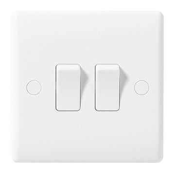 BG Nexus White Moulded 10A Double Light Switch