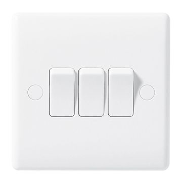 BG Nexus White Moulded 10A Triple Light Switch