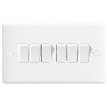 BG Nexus White Moulded 10A Six Way Light Switch