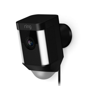 Ring Wired Spotlight Cam in Black with Free KitSound Wireless Earbuds