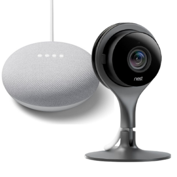 Nest® Cam Security Camera - Internal & Google Nest Mini (2nd Gen) - Chalk Bundle
