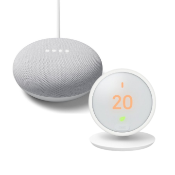 Google Nest® HF001235 Thermostat E & Google Nest Mini (2nd Gen) - Chalk