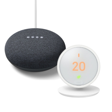 Google Nest® HF001235 Thermostat E & Google Nest Mini (2nd Gen) - Charcoal