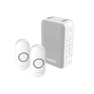 Honeywell Home Series 3 Wireless Portable Doorbell Kit, Volume Control, Two Push Buttons, White