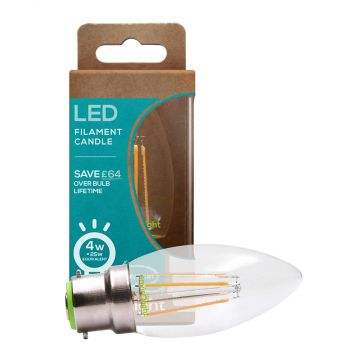 Envirolight LED 4W Filament Dimmable Candle Bulb, Warm White, Bayonet Fitting