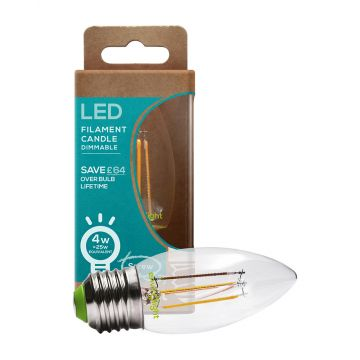Envirolight LED 4W Filament Dimmable Candle Bulb, Warm White, Screw Fitting