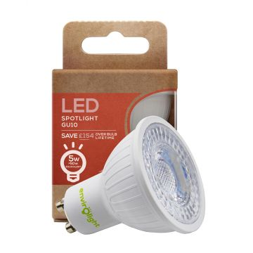 Envirolight LED 5W GU10 Non-Dimmable Spotlight, 38° Beam, Cool White