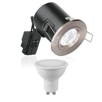 Enlite GU10 Fixed Position Downlight, Satin Nickel & Crompton LED Smart GU10 RGB Bundle