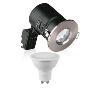 Enlite GU10 Bath & Shower Downlight, Satin Nickel & Crompton LED Smart GU10 RGB Bundle