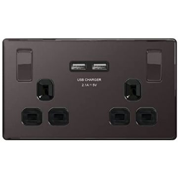 Nexus Metal 13A Double Plug Socket with 2 x USB Charger, Black Nickel, Black Inserts (REPLACED BY NBN22U3B)