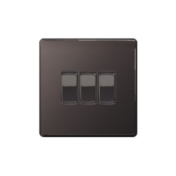 Screwless Flat Plate 10A Triple Light Switch, Black Nickel