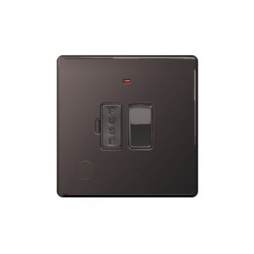 Screwless Flat Plate 13A Switched Fused Connection Unit, Neon Indicator, Flex Outlet, Black Nickel