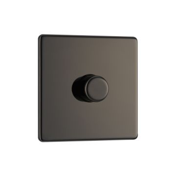 Screwless Flat Plate Single Dimmer Switch, Push On/Off 400W, Black Nickel Finish