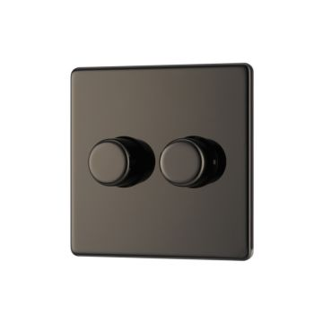 Screwless Flat Plate Double Dimmer Switch, Push On/Off 400W, Black Nickel