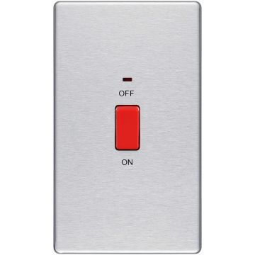 Screwless Flat Plate 45A Single Cooker Switch, Brushed Steel