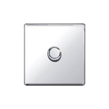 Screwless Flat Plate Single Dimmer Switch, Push On/Off 200W, Polished Chrome