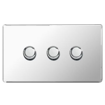 Screwless Flat Plate Triple Dimmer Switch, Push On/Off 200W, Polished Chrome