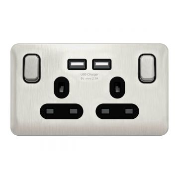 Schneider Lisse Deco 13A Double USB Plug Socket, Stainless Steel, Black Inserts