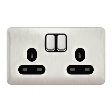 Schneider Lisse Deco 13A Double Plug Socket, Stainless Steel, Black Inserts