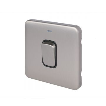Schneider Lisse Deco 50A Single Switch, 2 Pole, LED Indicator, Stainless Steel, Black Inserts