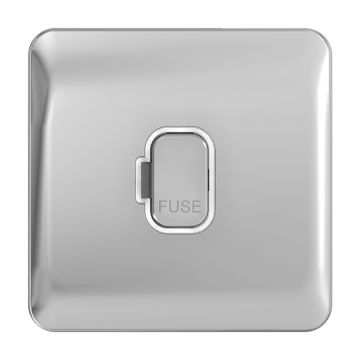 Schneider Lisse Deco 13A Unswitched Fused Spur, Polished Chrome, White Inserts