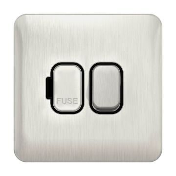 Schneider Lisse Deco 13A Switched Fused Spur, Stainless Steel, Black Inserts