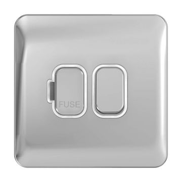 Schneider Lisse Deco 13A Switched Fused Spur, Polished Chrome, White Inserts