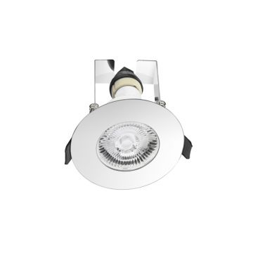 Integral LED Evofire GU10, IP65 Fire Rated Downlight & Insulation Guard, Polished Chrome