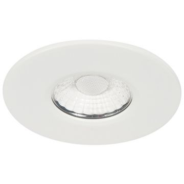 KSR Firebreak 10W COB LED Fire Rated Downlight, Fixed Position, Dimmable, Cool White LED, White