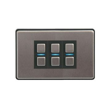 LightwaveRF Triple (3 Gang) Smart Dimmer Switch, Stainless Steel