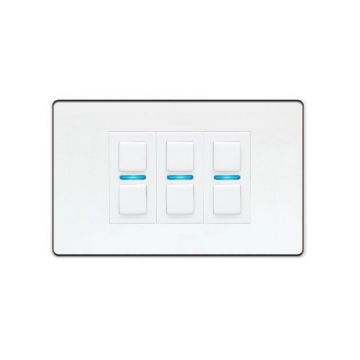 LightwaveRF Triple (3 Gang) Smart Dimmer Switch, White Metal