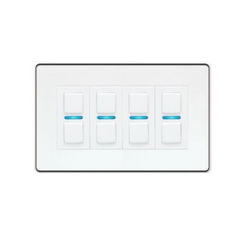 LightwaveRF Four Way (4 Gang) Smart Dimmer Switch, White Metal