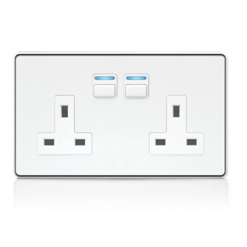 LightwaveRF 2 Gang Smart Socket, White Metal